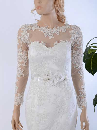 Long Sleeve Illusion Tulle Lace Wedding Jacket WJ030