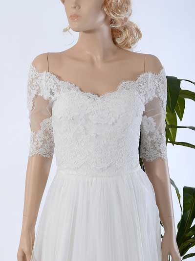 Off-Shoulder Alencon Lace Bolero Wedding jacket WJ031