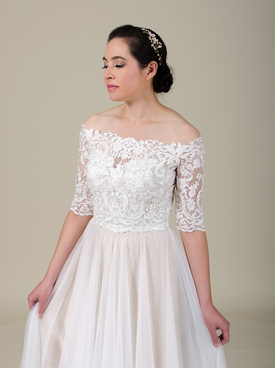 Off shoulder beaded lace bolero wedding dress topper WJ041