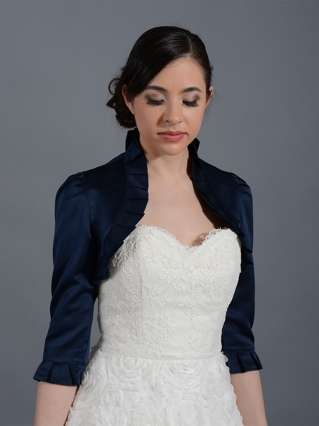 Navy Blue 3/4 sleeve wedding satin bolero jacket Satin008_NavyBlue