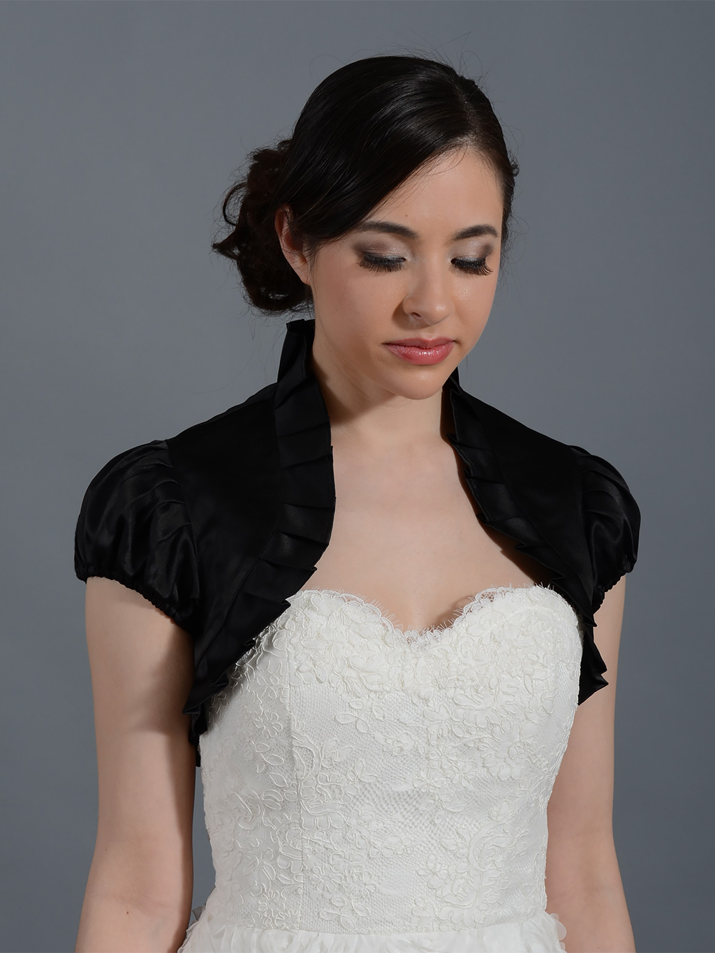 Black short sleeve wedding satin bolero jacket