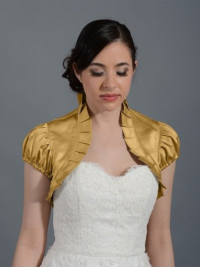 Gold short sleeve satin bolero wedding jacket Satin006n_gold