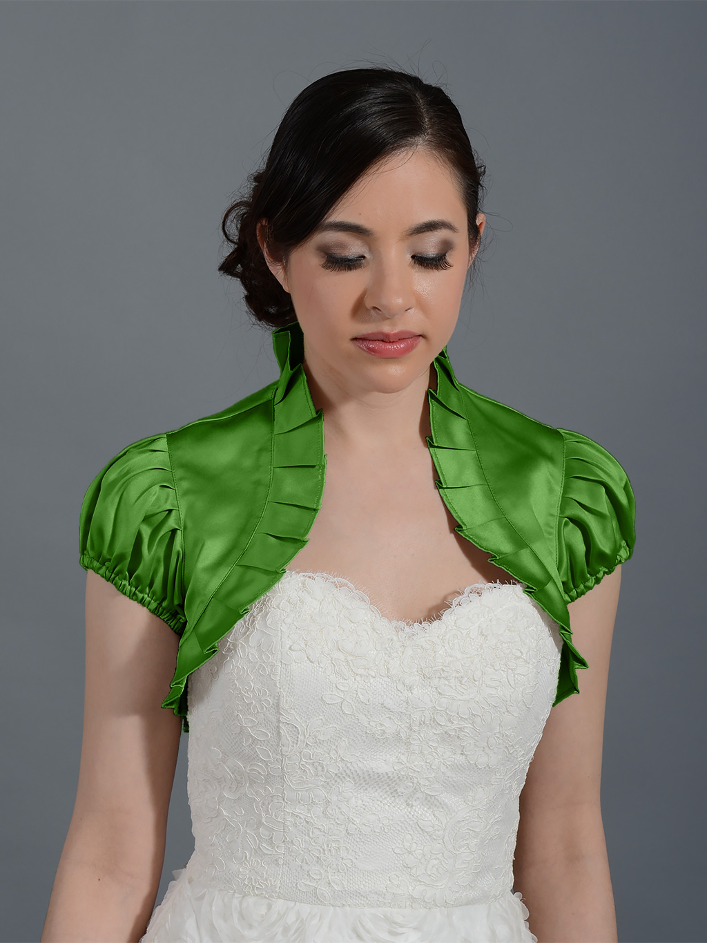 Moss Green sleeve wedding satin bolero jacket
