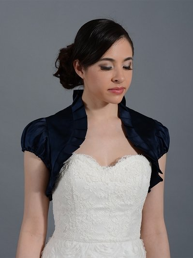 Navy Blue short sleeve wedding satin bolero jacket