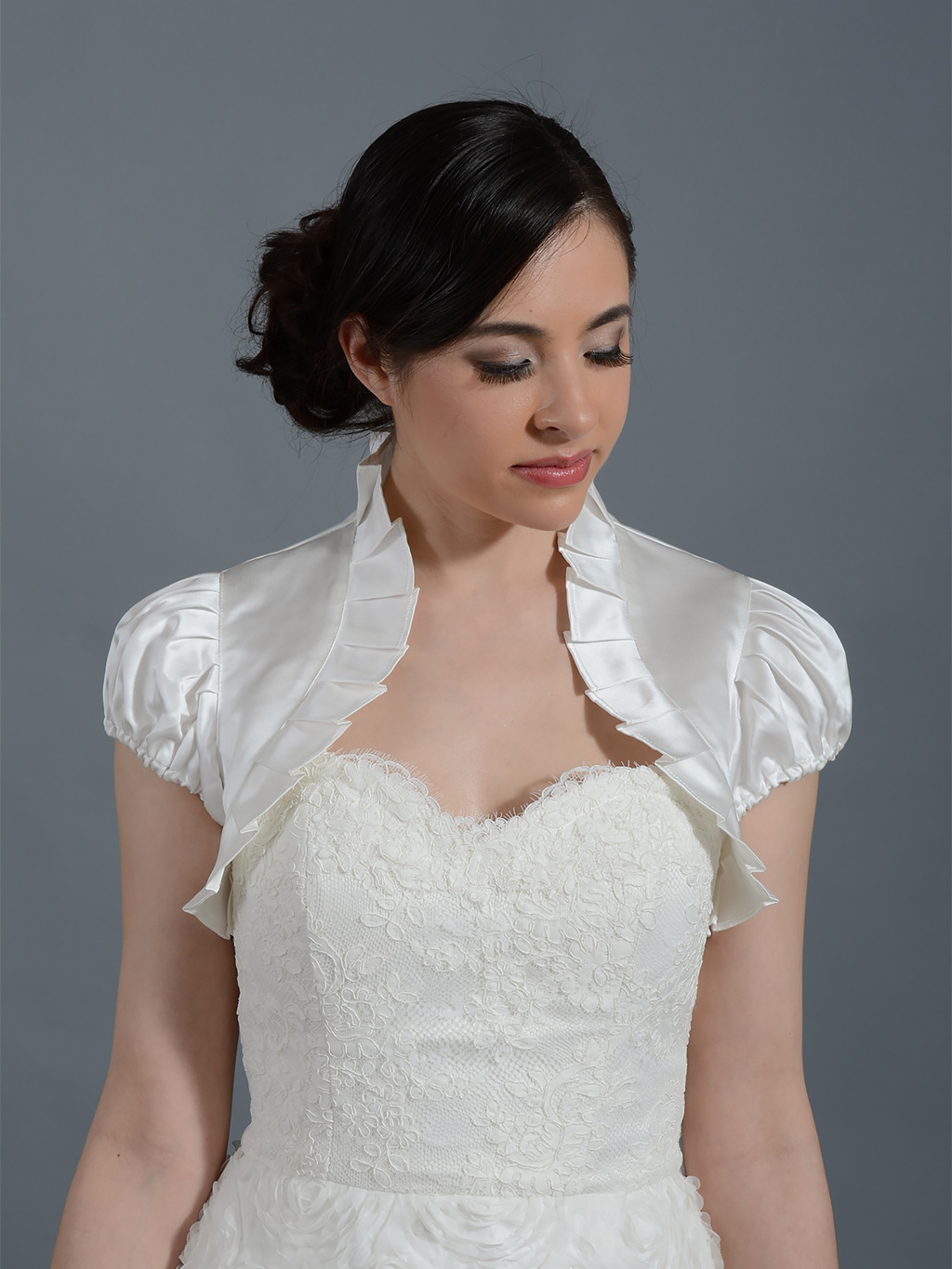 Short sleeve wedding satin bolero jacket Satin006ns