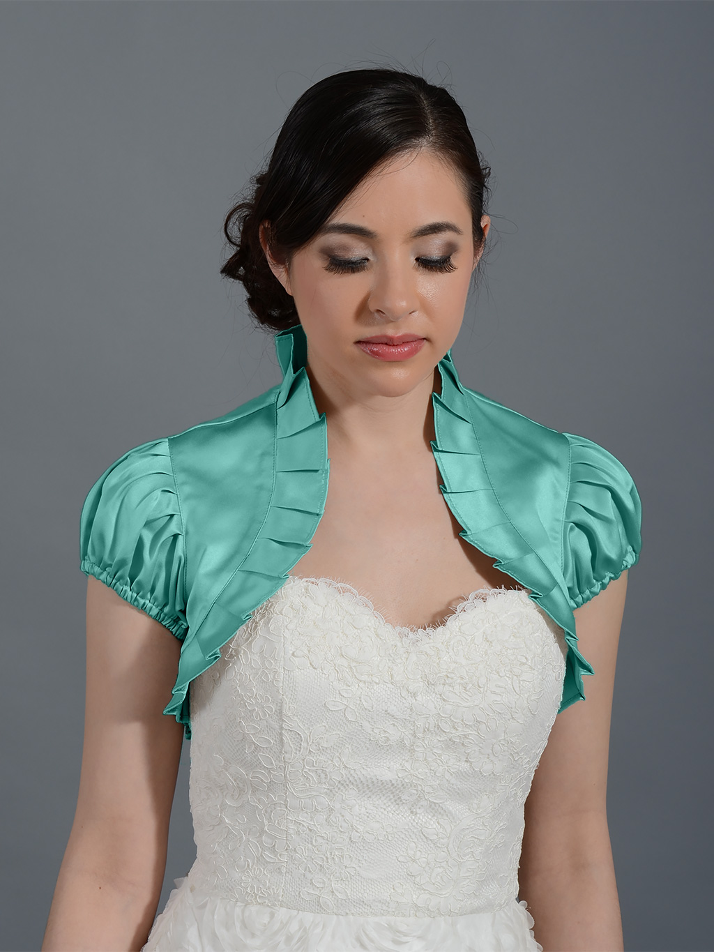 Pale Turquoise sleeve wedding satin bolero jacket