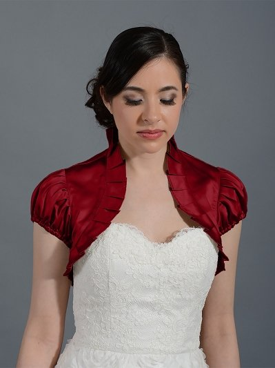 Wine Red short sleeve wedding satin bolero jacket