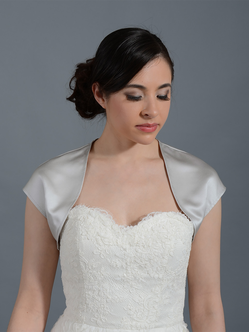 Silver sleeveless wedding satin bolero jacket