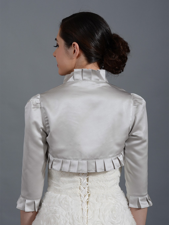 Silver 34 Sleeve Wedding Satin Bolero Jacket Satin008Silver