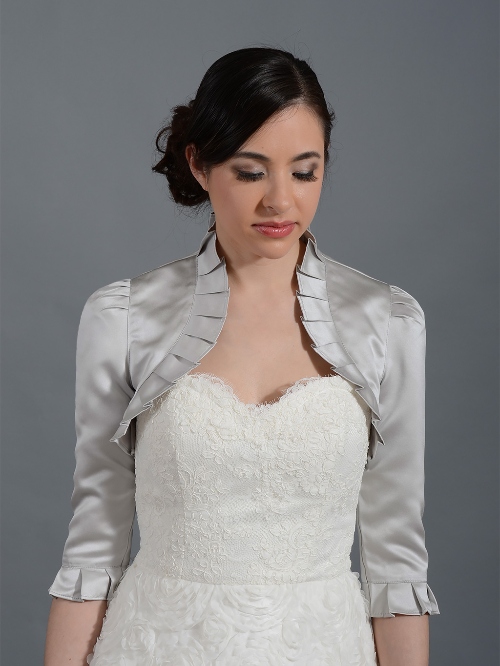 Silver 3/4 sleeve wedding satin bolero jacket Satin008_Silver