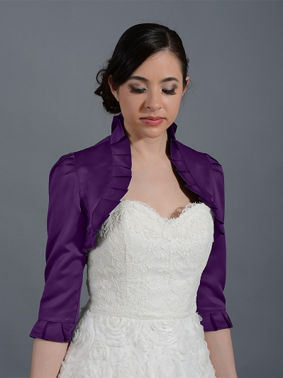 Purple 3/4 sleeve wedding satin bolero jacket Satin008