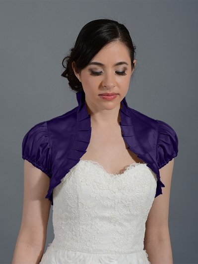Egg Plant sleeve wedding satin bolero jacket