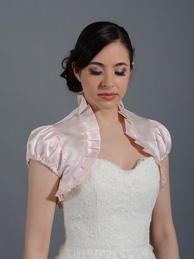 Pink Short sleeve satin bolero wedding jacket
