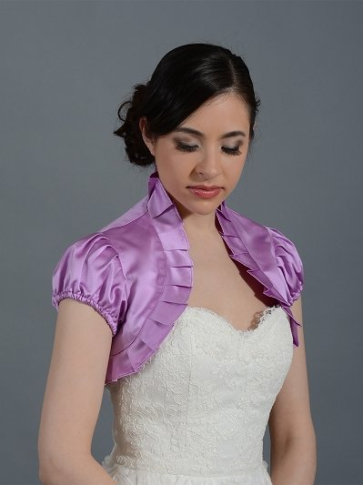 Radiant orchid short sleeve wedding satin bolero jacket