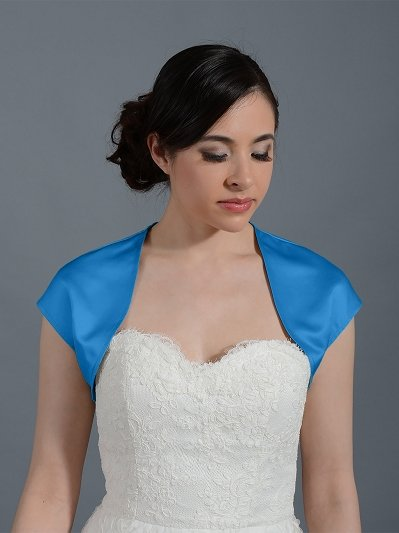 Bright Blue sleeveless satin wedding bolero jacket