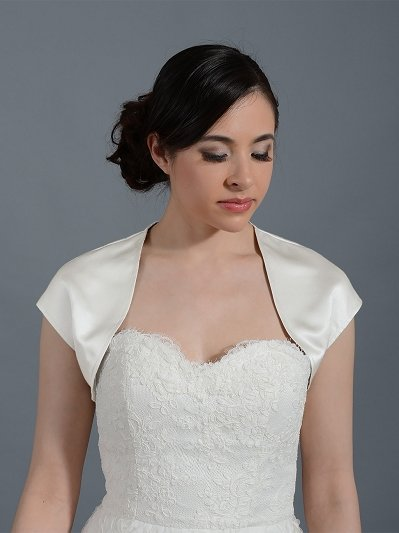 Sleeveless satin bolero wedding jacket Satin007