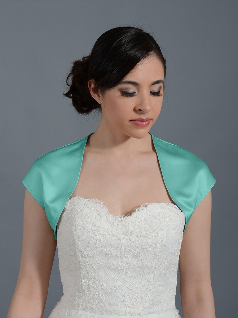 Pale Turquoise sleeveless satin wedding bolero jacket