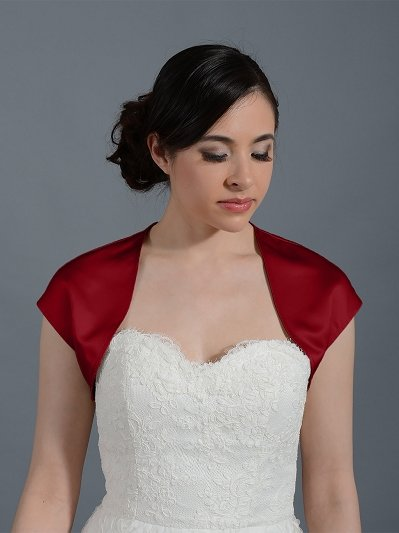 Wine Red sleeveless wedding satin bolero jacket
