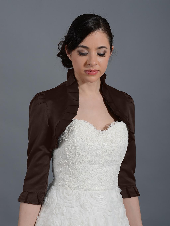 Brown 3 4 Sleeve Wedding Satin Bolero Jacket