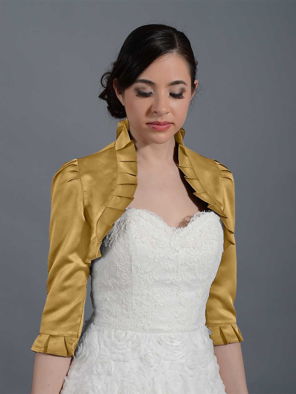 Gold 3/4 sleeve wedding satin bolero jacket Satin008_Gold