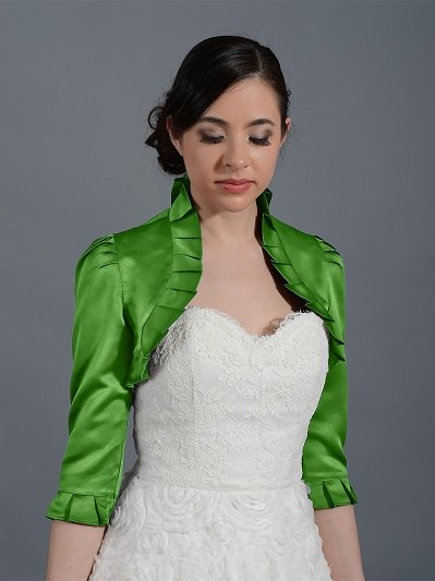 Moss Green 3/4 sleeve wedding satin bolero jacket
