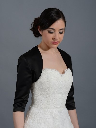 Black 3/4 sleeve wedding satin bolero jacket Satin009_Black