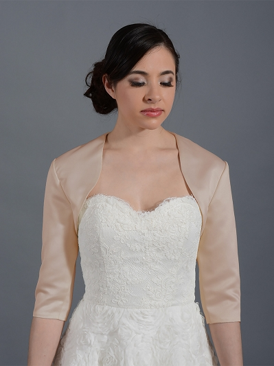 Champagne 3/4 sleeve wedding satin bolero jacket