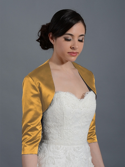 Gold 3/4 sleeve wedding satin bolero jacket Satin009_Gold