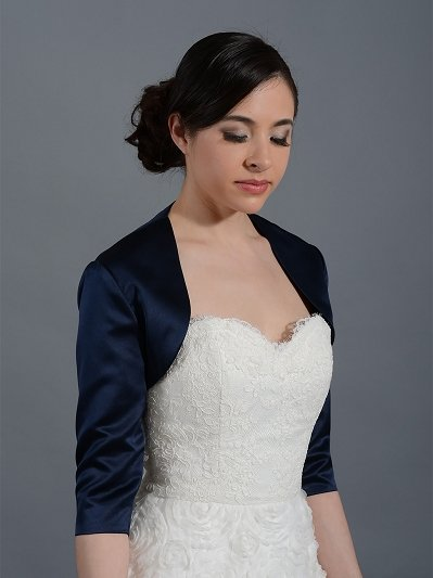 Navy Blue 3/4 sleeve wedding satin bolero jacket Satin009_NavyBlue