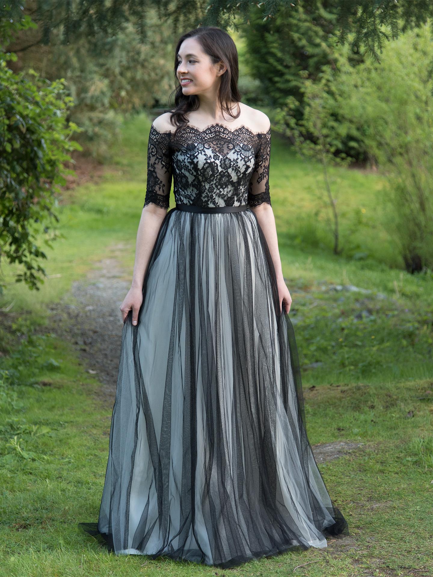 Black Wedding Dress Topper With Wedding Dress 102