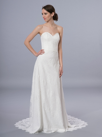 Boho wedding dress strapless 4069