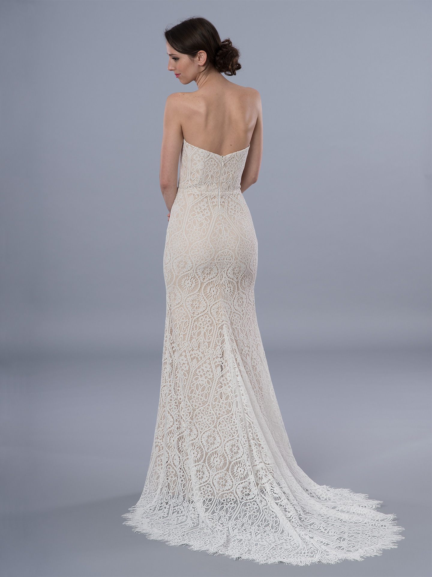Boho wedding dress strapless 4072