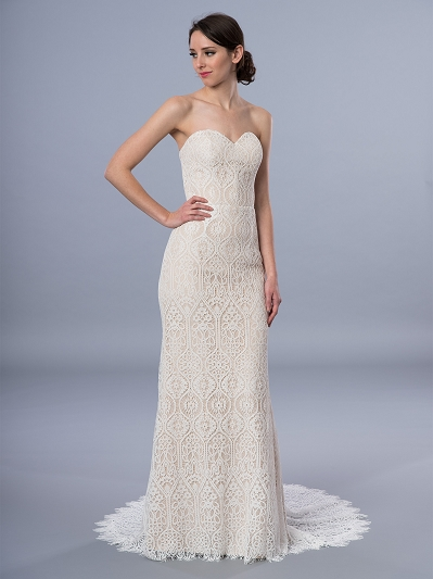 Boho wedding dress strapless 4072
