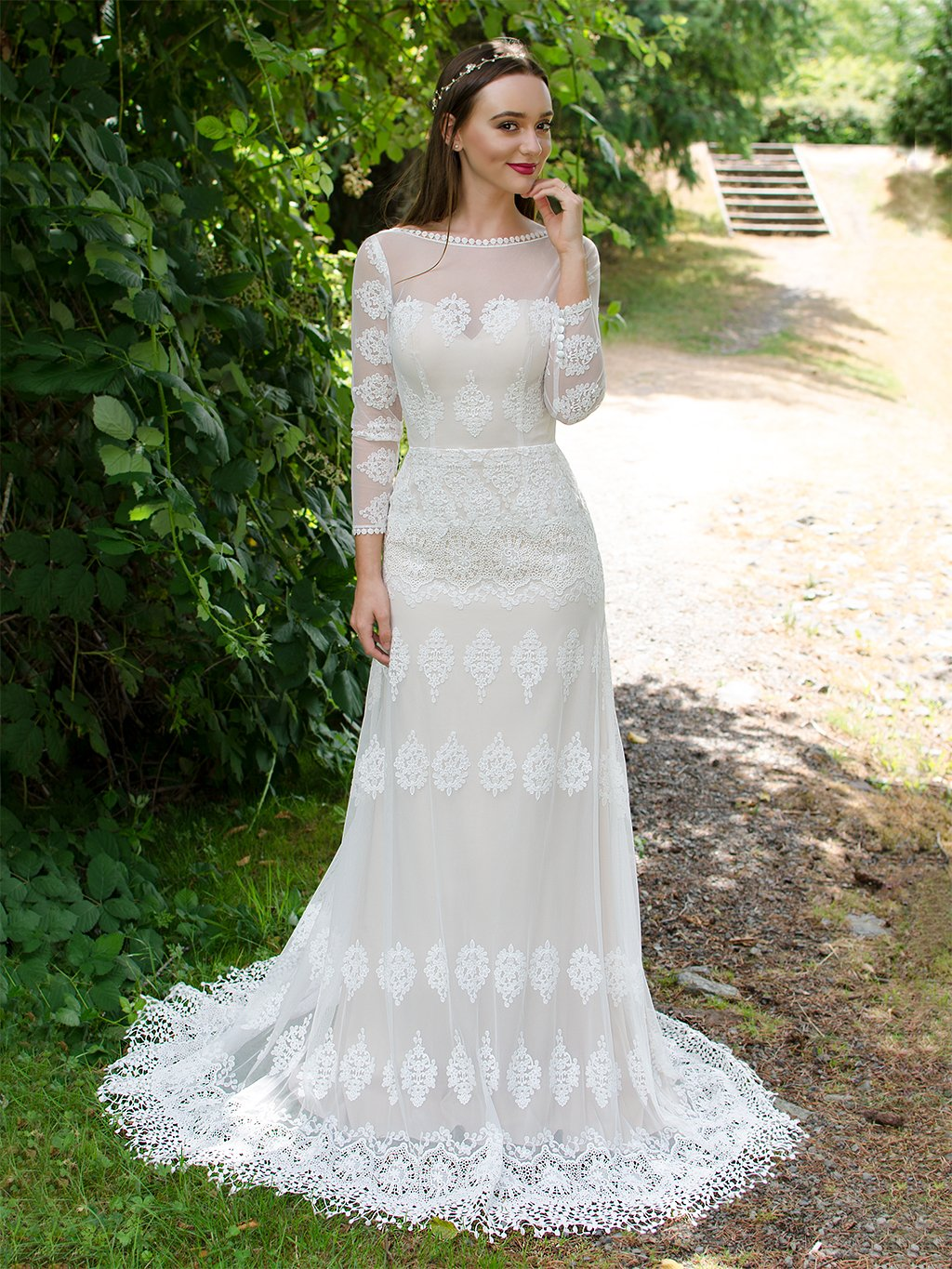 Long sleeves boho lace wedding dress 5003