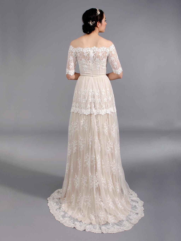 e4e8662a2e Off shoulder boho lace wedding dress 5004. Tap to expand. wedding dress.  prev