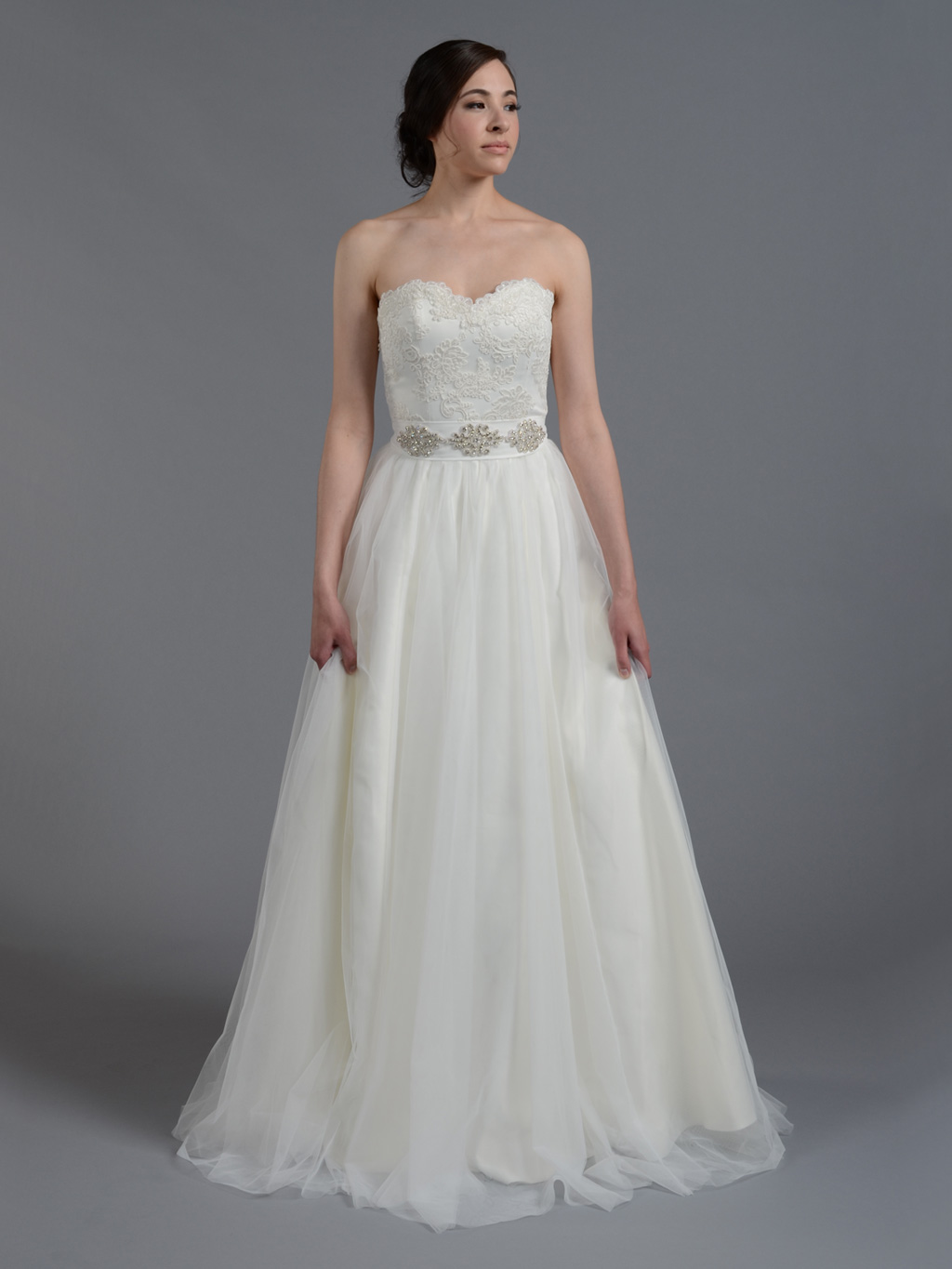 f236bf74e7921 Ivory strapless lace wedding dress with tulle skirt