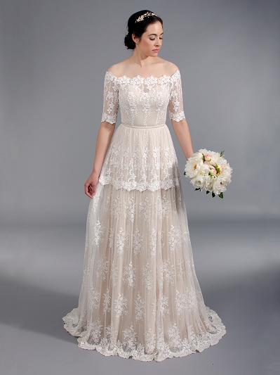 Off shoulder boho lace wedding dress 5004