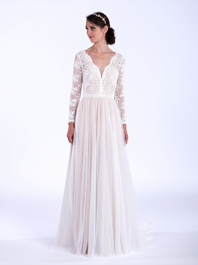 Boho wedding dress with long sleeves 5006