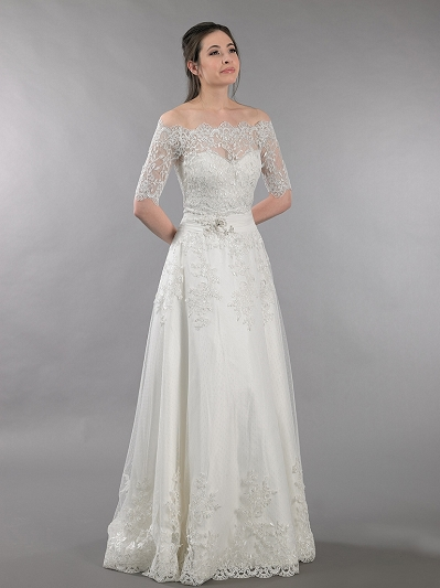 Ivory strapless dot lace wedding dress with off shoulder bolero