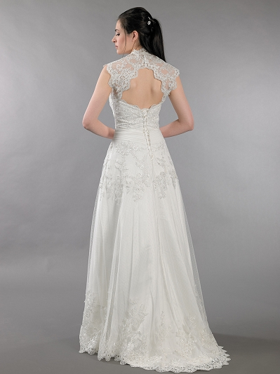 Ivory strapless dot lace wedding dress with keyhole back bolero