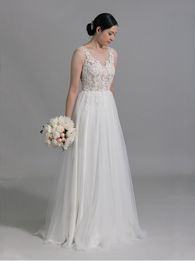 Ivory sleeveless lace wedding dress with tulle skirts 4009