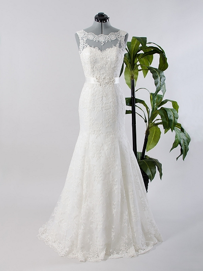 Ivory sleeveless lace wedding dress with mermaid skirt 4017