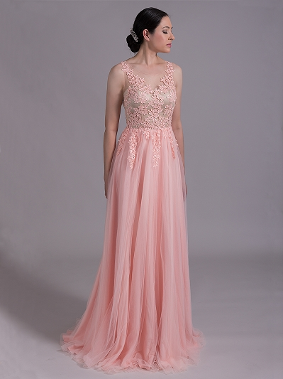 Blush sleeveless lace wedding dress with venice lace 4024
