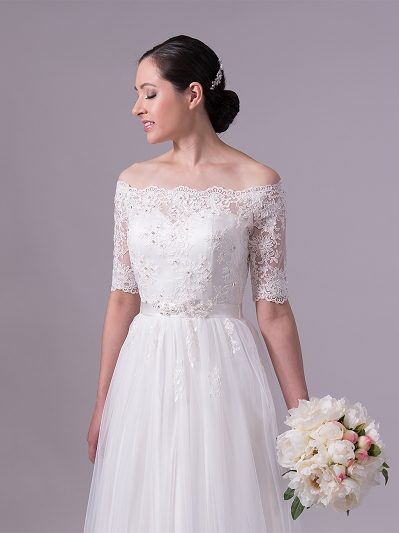 Ivory off shoulder lace wedding dress with tulle skirt 4025
