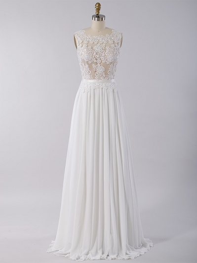 Sleeveless lace wedding dress with chiffon skirt 4028
