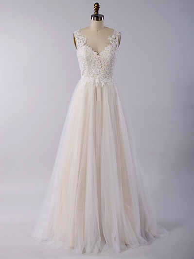 Sleeveless lace wedding dress with venice lace 4030