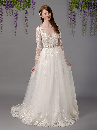 Long sleeve lace wedding dress with embroidered lace 4032