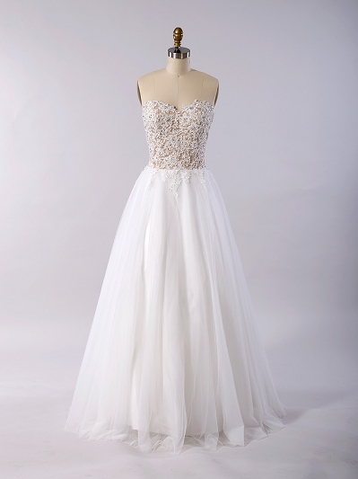 Strapless lace wedding dress with tulle skirt 4033