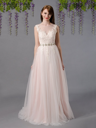 Sleeveless lace wedding dress with tulle skirts 4038