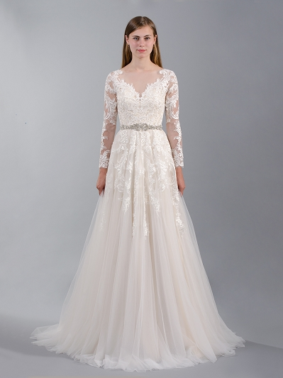 Long sleeve lace wedding dress 4042